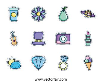flower and patches icon set, line color style