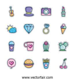 guitar and patches icon set, line color style