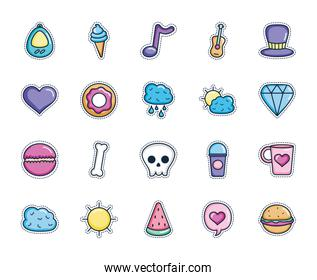 ice cream and patches icon set, line color style