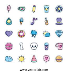 pencil and patches icon set, line color style