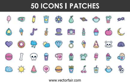 cute patches icon set, line color style
