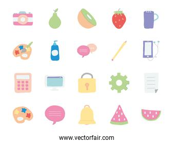 paint palettes and cute stuffs icon set, flat style