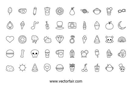 pear fruit and stuffs icon set, line style
