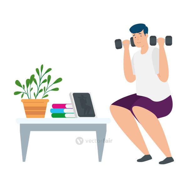 young man stay at home lifting dumbbells