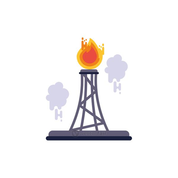 Isolated refinery with flame vector design