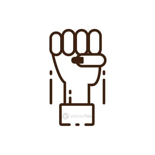 female hand with fist up, line style icon