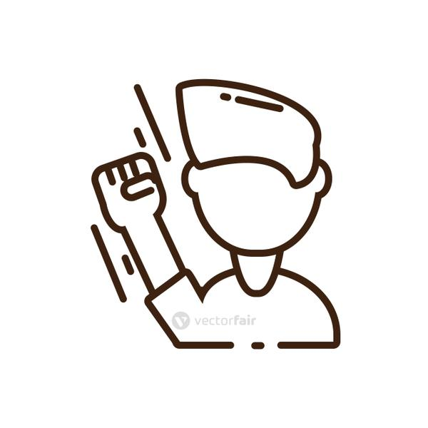 cartoon man with fist up icon, line style