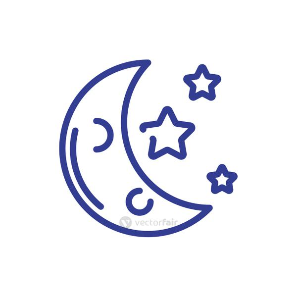 moon and stars, line style icon