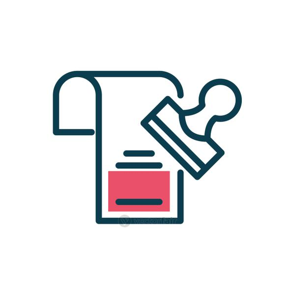 stamp and document icon, half color style