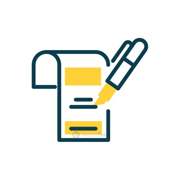document and highlighter pen icon, half color style
