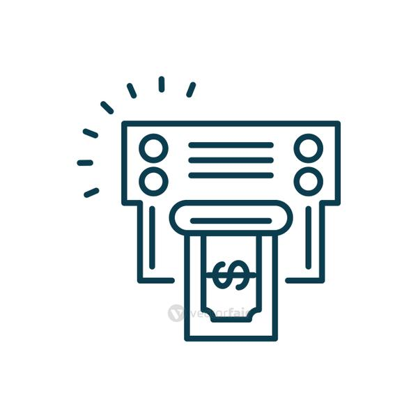 printer with money bill icon, line style