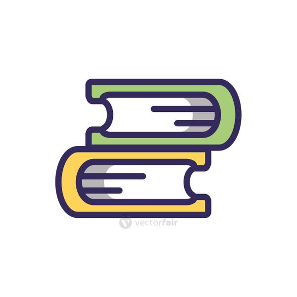 books icon, colorful line and fill style