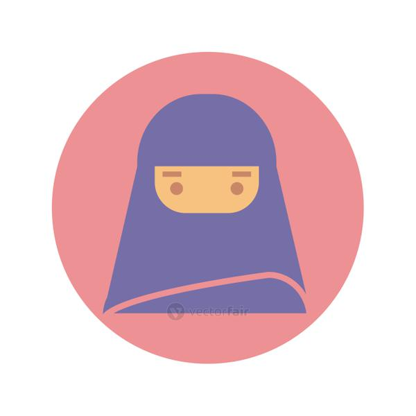 woman with burka icon, block style design