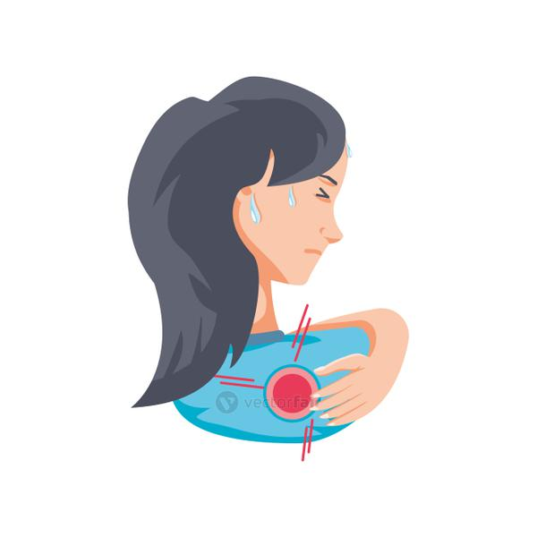 woman with body pain on white background