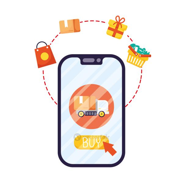 smartphone with truck and ecommerce icons