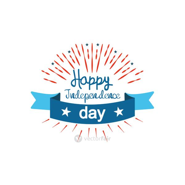 United Stated Happy independence day typographic design with decorative burst and ribbon, flat design