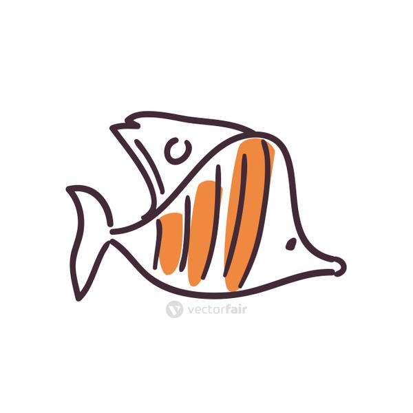 Fish animal flat style icon vector design