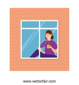 young woman stay at home in windows