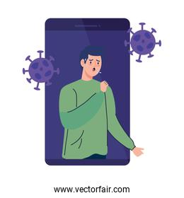 man sick in smartphone with covid19 particles