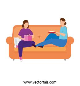 young women couple stay at home in sofa