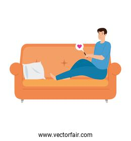 young man stay at home in sofa