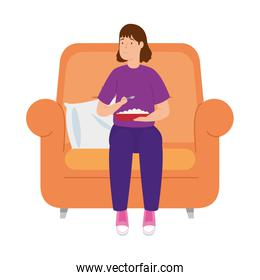 young woman stay at home eating in sofa