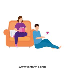 young couple stay at home in livingroom