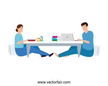 young couple eating and using laptop