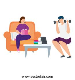 young couple reading book and lifting dumbbells