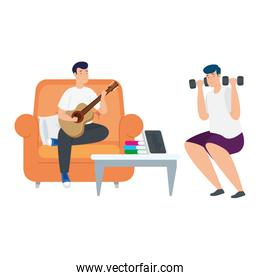 young men lifting dumbbells and playing guitar