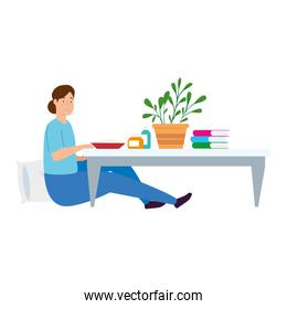 young woman stay at home eating in table