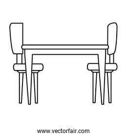 table with chairs forniture icon