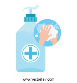 antibacterial soap bottle with hands washing