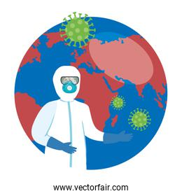 planet earth with covid19 particles and biosafety worker