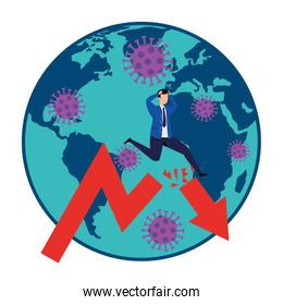 planet earth with businessman and statistics arrows