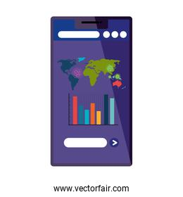 earth planet of covid19 in smartphone with statistics bars