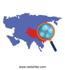 asia map with covid19 particles and magnifying glass