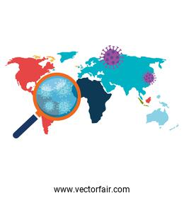 earth map with covid19 particles and magnifying glass