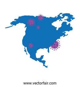 north america map with covid19 particles