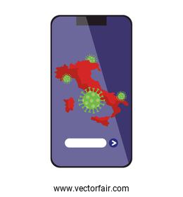 italy map with covid19 particles in smartphone