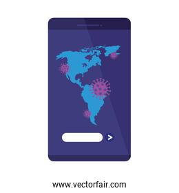 american continent with covid19 particles in smartphone