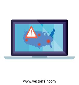 usa map with covid19 particles in laptop
