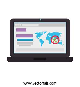 earth maps with stop covid19 signal in laptop