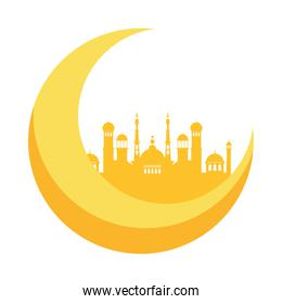 isolated ramadan kareem mosque temple with moon crescent