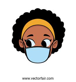 head afro girl using face mask for covid19