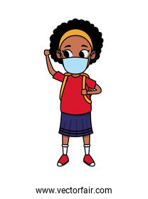 afro little girl using face mask for covid19