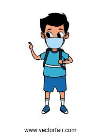 little boy using face mask for covid19