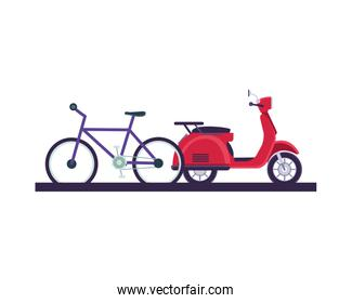delivery scooter motorcycle and bicycle