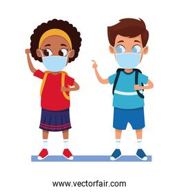 interracial kids couple using face masks for covid19