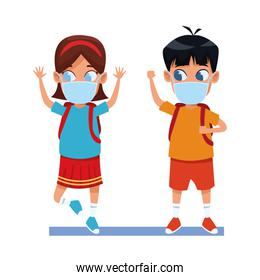 little kids couple using face masks for covid19